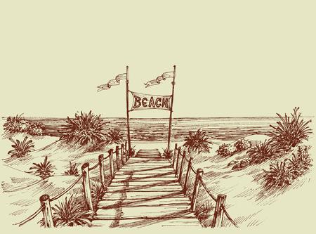 El camino a la playa, con vistas al mar por delante de dibujo vectorial Ilustración de vector