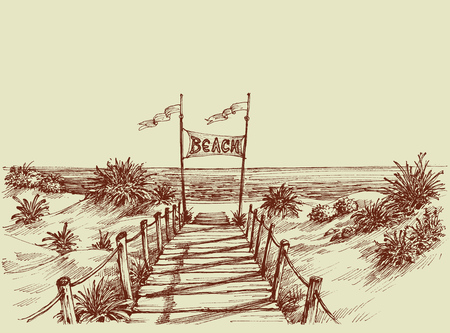 pave: The way to the beach, sea view ahead vector drawing Illustration