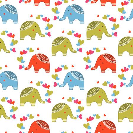 cute animals: Cute elephants in love pattern. Animals print for children Illustration