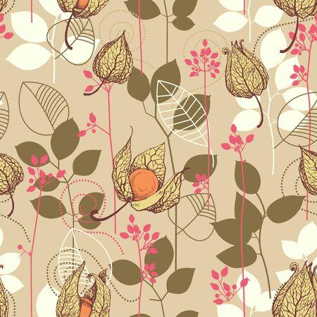patrón de caer. Las frutas y las hojas en el otoño de colores de fondo