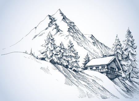 Winter landscape in the mountains. A cabin in the snow and beautiful nature surroundings
