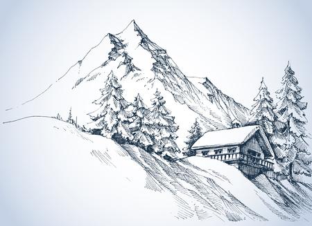 Paysage d'hiver dans les montagnes. Une cabane dans la neige et un cadre magnifique de la nature Banque d'images - 67579990
