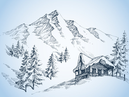Nature in the mountains sketch, Winter landscape and winter holiday hut 向量圖像
