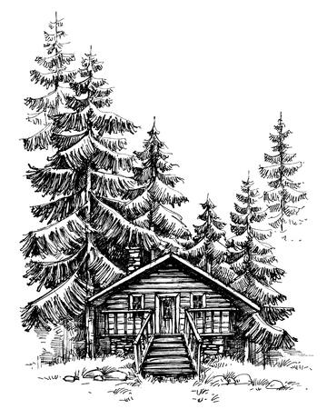 Drewniana chata w lesie sosnowym. Idylliczne zimowy krajobraz, wakacje rekolekcje