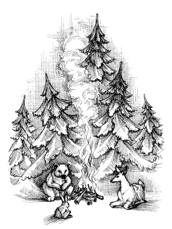 snow tree: Cute Christmas card sketch. Forest animals near fire camp