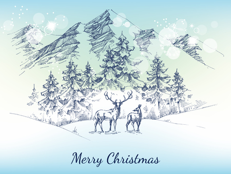 pine forest: Christmas card. Winter landscape, mountains, pine forest and deer