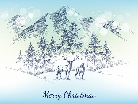 Kerstkaart. Winter landschap, bergen, bos en herten