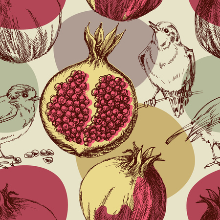 autumn garden: Pomegranate pattern. Cute seamless pattern pomegranates and birds