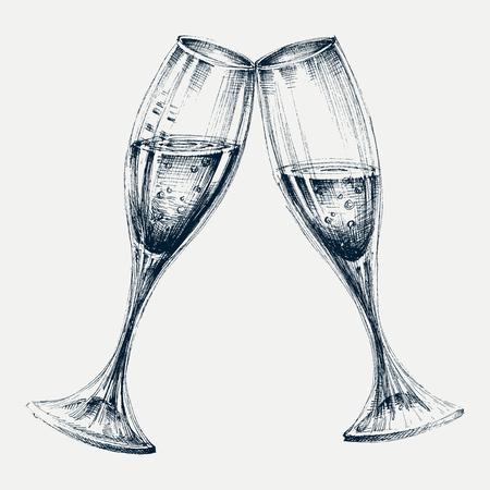 bicchieri di champagne isolato, disegno festa di Capodanno Vettoriali