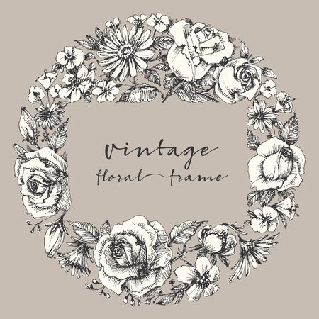 rose: Vintage flower frame, space for text. Retro floral wedding or festive events invitation