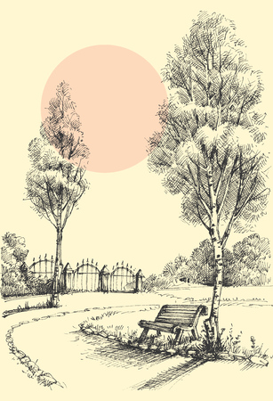 bench: Garden artistic drawing, an alley in the park