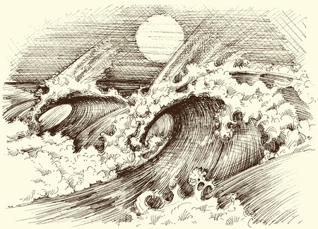 wind surfing: Huge sea waves etching, sun at the horizon