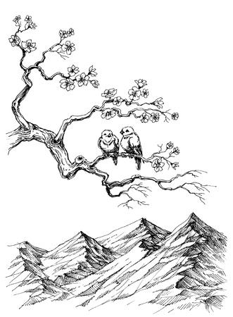 lovebirds: Spring birds on tree branch sketch
