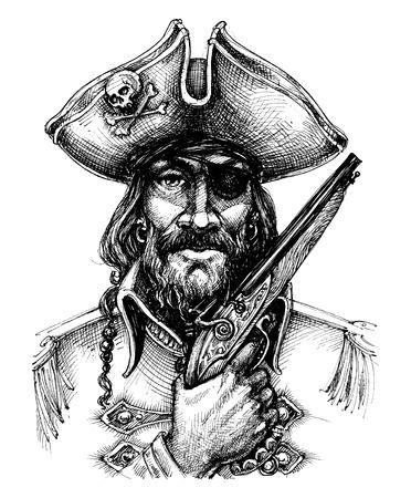 Pirate portrait drawing Banco de Imagens - 69401393