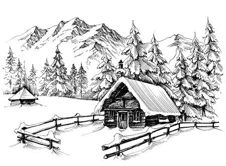 山に冬小屋  イラスト・ベクター素材