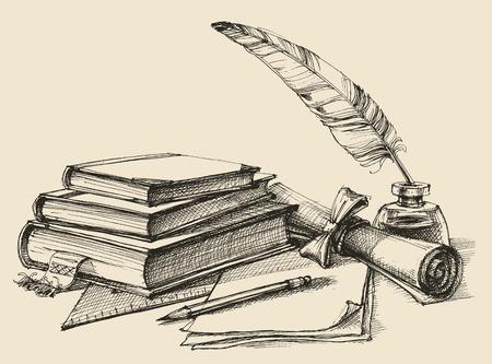 Pila de libros, papel, lápiz, pergamino, pluma y tinta. Diploma, certificado, escuela, estudio, la escritura, la literatura, el diseño de la biblioteca en el estilo vintage Ilustración de vector