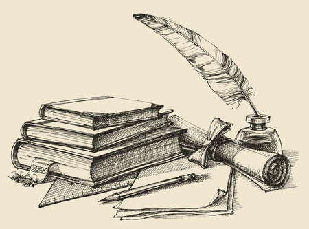 Stack of books, paper, pencil, scroll, quill pen and ink. Diploma, certificate, school, study, writing, literature, library design in vintage style Illustration
