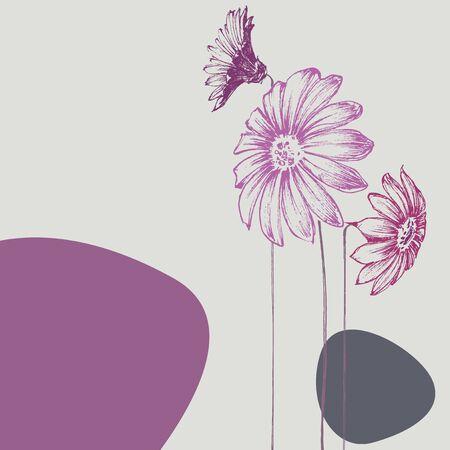 petal: Beautiful flowers design. Birthday card, wedding announcement card