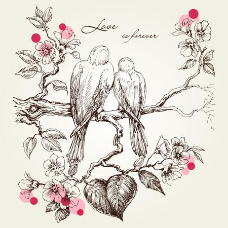 Pájaros del amor en la rama de un árbol. Diseño de San Valentín