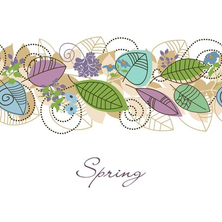 Spring foliage decoration, cute leaves and flowers