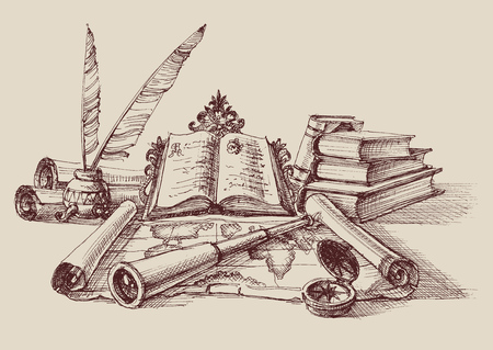 Retro study and exploration composition. Stack of books, quill pen, map, compass and spyglass. Travel concept