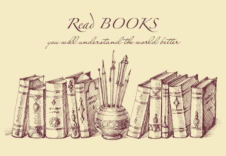 Libros y herramientas de escritura en estilo vintage. Texto de motivación para la lectura y el aprendizaje, concepto de educación