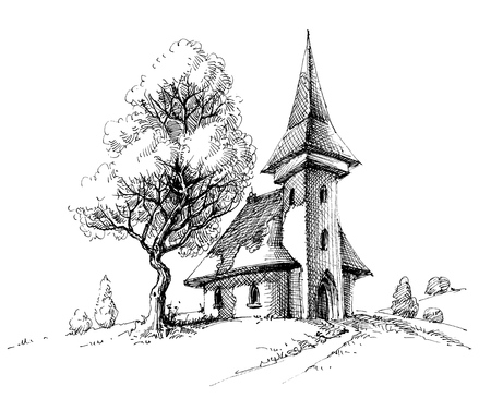 Old church sketch. Artistic drawing for printing