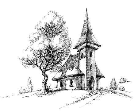 Old church sketch. Artistic drawing for printing Векторная Иллюстрация