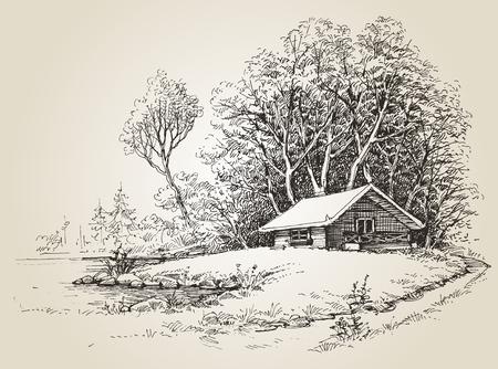 Cabaña en el bosque cerca de dibujo a mano orillas de los ríos