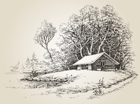 Cabin in the woods near river banks hand drawing