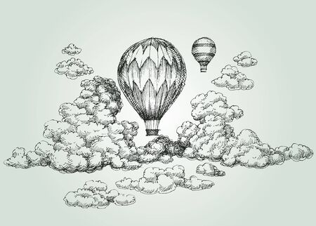 Hete luchtballon tekening