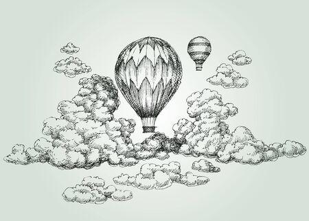 cloud: Hot air balloon drawing