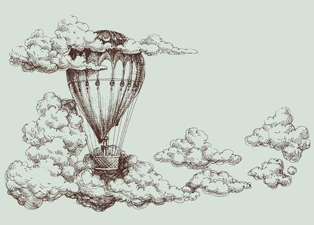 하늘, 복고풍 포스터에 뜨거운 공기 풍선