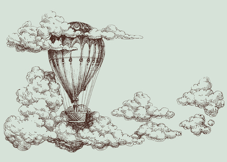 Hot air balloon up in the sky, retro poster Illustration