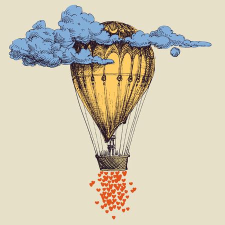 Heißluftballon in den Himmel mit vielen Herzen. Liebeskonzept Vektorgrafik