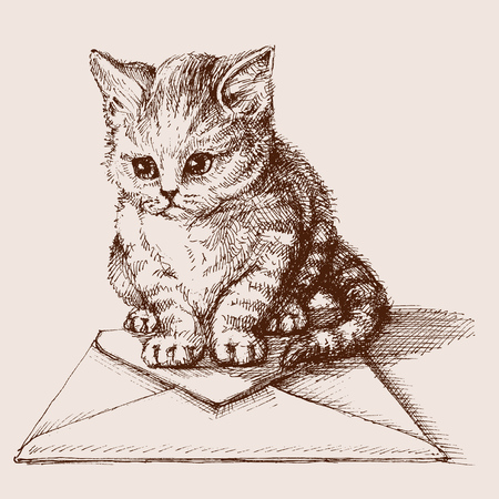 Small cat sitting on an envelope Illustration
