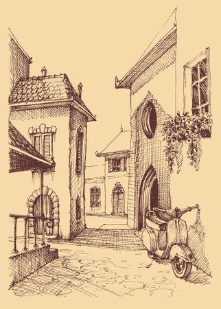 Oude stadshandtekening, kleine straat en autoscooter Stock Illustratie