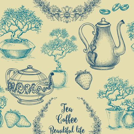Tea and coffee seamless pattern. Table cloth print, kitchen dish design