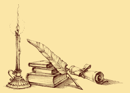 Stack of books, paper, scroll, quill pen and candle. Diploma, certificate, school, study, writing, literature, library design in vintage style Vettoriali