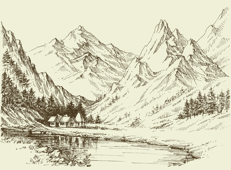 Mountain landscape sketch, small alpine resort Ilustrace