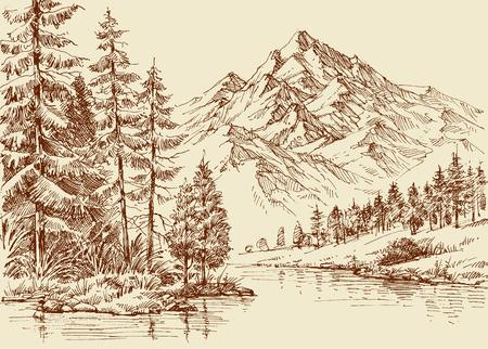 Alpine landscape, river and pine forest sketch Illustration