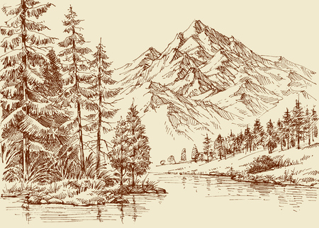 Alpine landscape, river and pine forest sketch Vectores