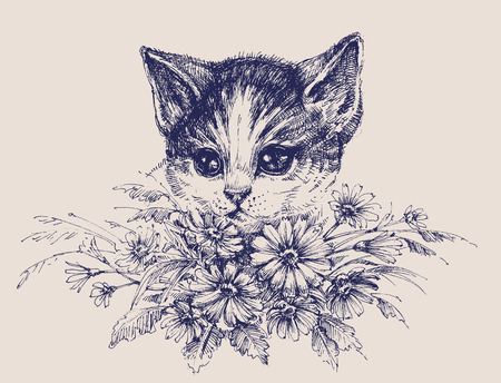 domestic: Cute cat portrait with a bunch of flowers Illustration