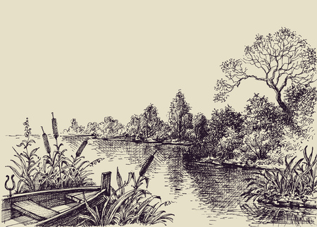 view: River flow scene. Hand drawn landscape, boat on shore Illustration
