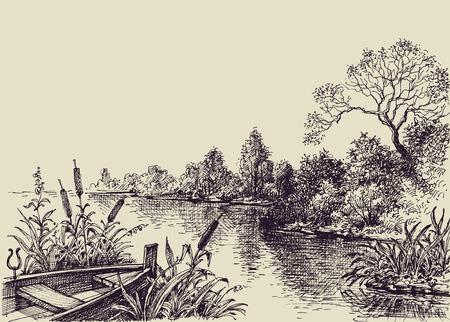 River flow scene. Hand drawn landscape, boat on shore Vettoriali