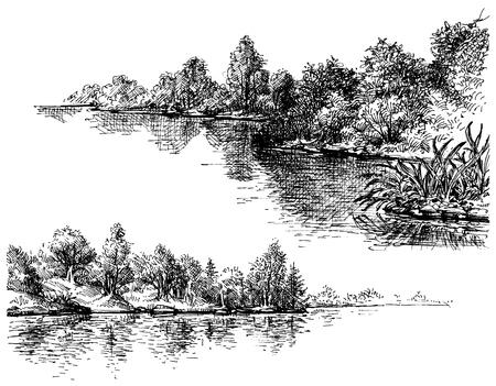Rivier banken en vegetatie set Stock Illustratie