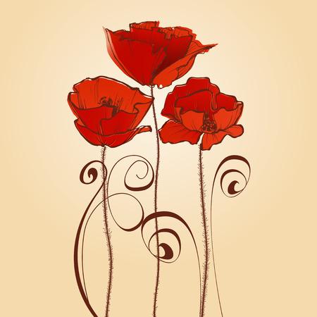 romance: Red flowers celebratory card. Poppy design elements