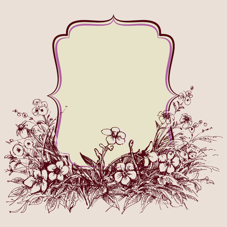 greeting season: Vintage floral frame, space for text Illustration
