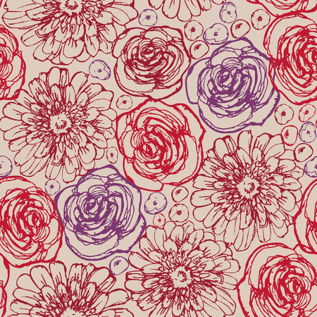 hand print: Hand drawn flowers seamless pattern. Roses and gerbera daisy