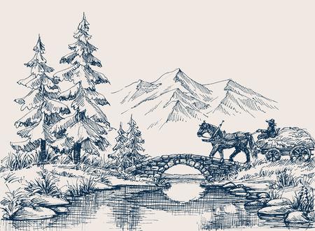 田舎の牧歌的な風景、川を渡る馬カート  イラスト・ベクター素材